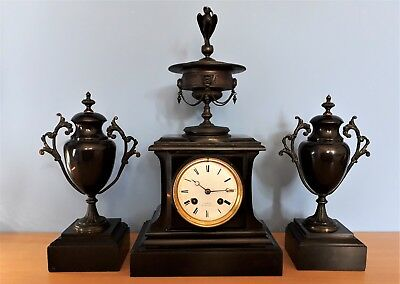 Antique French Black Slate and Bronze Mantel Clock With Garniture by Lefebvre