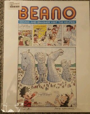 Limited edition signed Beano print Dennis Gnasher visit Kelpies Falkirk