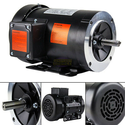 3 HP Electric Motor 3 Phase 56HC Frame 3600 RPM TEFC 208 230 / 460 Volt New
