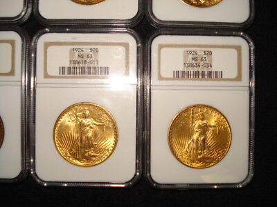 Lot Of 10 $20 1924 Double Eagle Gold Coin Ms 63