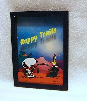 Vintage Snoopy & Woodstock Happy Trails Framed Picture**wow!!