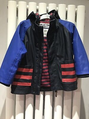 Next Boys Spring Summer Waterproof Jacket Lined Aged 18-24 Months Raincoat MAC