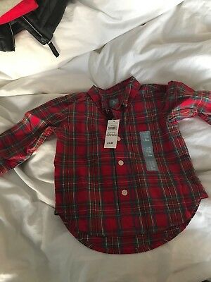 Baby Boy Baby Gap Red TArten Checked Shirt 12-18 Months BNWT