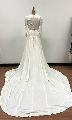 Fabulous Vintage 1940s Wedding Dress, Dramatic, Perfect for Upcycling!