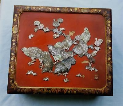 ANTIQUE JAPANESE LACQUER BOX with CARVED MOTHER of PEARL QUAIL INLAY & SEAL MARK