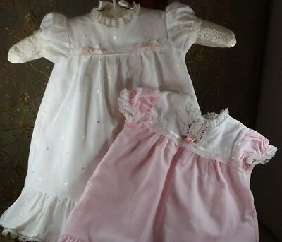 VINTAGE Baby DRESS 3-6 months  Flouncy EYELET RUFFLES Dotted Swiss LOT of TWO