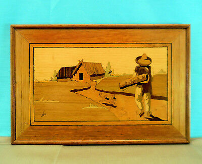 Antique/Vintage Signed Wood Inlay Marquetry Framed Picture - Home Coming