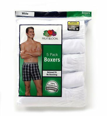 Fruit of the Loom Men's White Woven Boxer 5-Pack All Sizes
