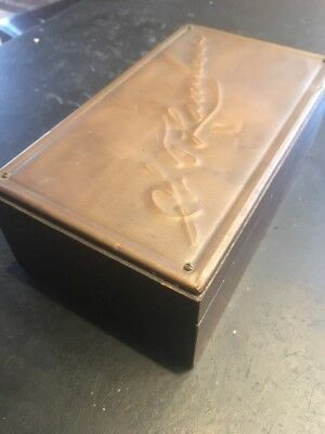 VINTAGE HAND MADE WOODEN BOX Copper Nelson Shaw - Lambert Family