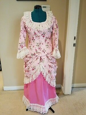 Victorian bustle dress in pink and ivory lace