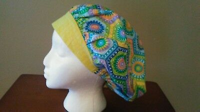 Hexagon Pattern Women's Bouffant Surgical Scrub Hat/Cap Handmade
