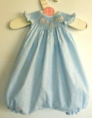 Luli and Me girl 3M smocked yoke balloon one piece,pastel blue,pink,100% cotton
