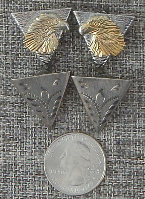 Two Pair Triangle Wing Collar Points Metal Silver Tone Vintage Gold Eagle