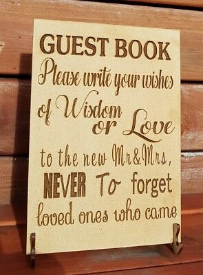 Personalised alternative Wooden Drop Top Wedding Guest Book sign only