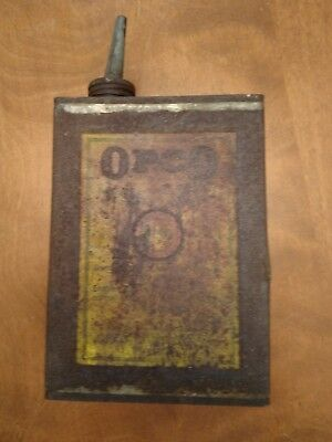 Old Vintage/Antique OPCO Oil can Tin Buffalo NY USA Rustic shape Rectangle