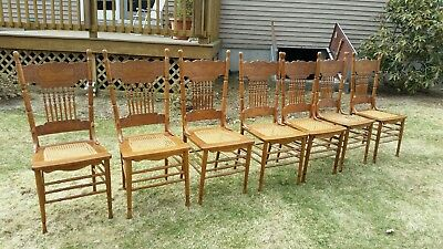 Antique Set of 7 Seven Matching Carved or Pressed back Chairs Larkin # 6 or #7 ?
