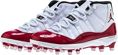 5b2faaac16e3f8 NIKE JORDAN XI 11 Retro TD Football Cleats AO1561-101 White Red Mens ...