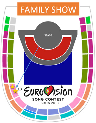 Eurovision 2018 - 2 TICKETS TOGETHER - Entradas Grand Final Family Show 12 May
