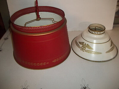 2 VTG Tole Lamp Shades Large 13 1/2 smaller 10 1/2 inches