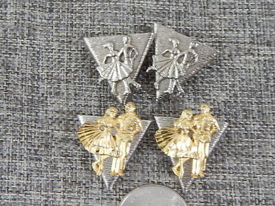 Two Pair Triangle Wing Collar Points Metal Silver Tone Square Dance Couple