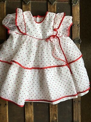 Vintage C.l. Castro Girls Sheer Dotted Swiss Dress. Tulle & Slip Attached 4T USA