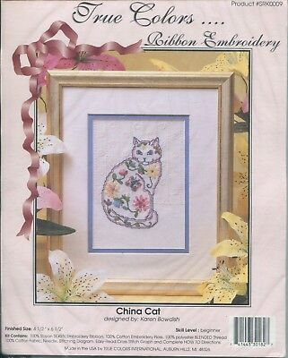 "True Colors Ribbon Embroidery China Cat Pattern Kit Beginner 4.5"" x 6.5"" NEW"