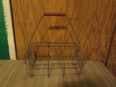 vtg Metal Wire Half Gallon Milk Bottle Carrier