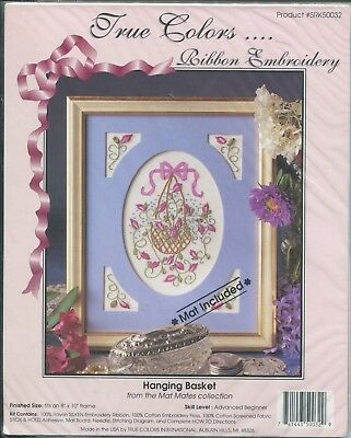 True Colors Ribbon Embroidery Hanging Basket Pattern Kit Mat Included 8 x 10 NEW