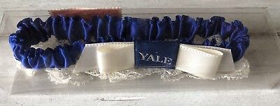 Real Vintage YALE Blue Satin & White Lace Wedding Garter Collegiate 1950's RARE