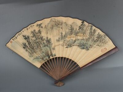 Chinese Exquisite Handmade landscape Text pattern Wooden fan