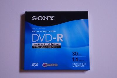 SONY Handycam DVD-R 30 Min 1.4 GB Single Sided Monoface Discs 1 Pack New Sealed