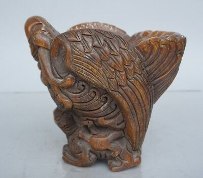 Chinese Exquisite Hand-carved eagle brave troops carving OX Horn cup