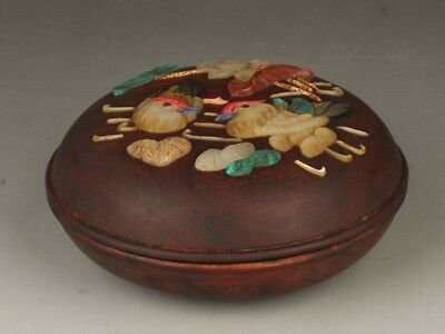 Chinese Exquisite Handmade Lotus mandarin duck pattern Wooden inlay shells box