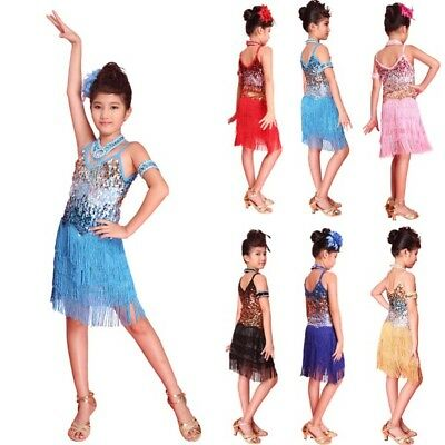 Girls Latin Dance Dress Tango Sequin Dance children Fairy Dresses Party Costume