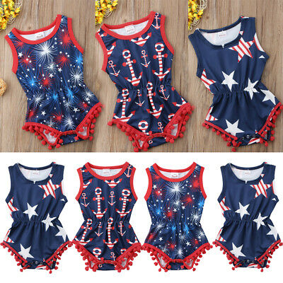 USA Infant Newborn Baby Girls Romper Jumpsuit Outfit Sunsuit Playsuit Clothes