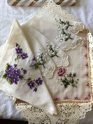 Vintage Lot of Three w/Tags Unused Hankies, 2 Burmel & 1 Petit Point Embroidery