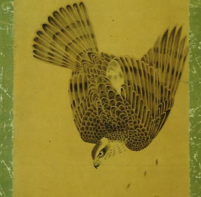 """JAPANESE HANGING SCROLL: Antique """"Hawk after a Sparrow """",Kano-ha, 1700's Edo"""