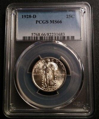 1928-D Standing Liberty Quarter PCGS MS66 GEM Blast White!