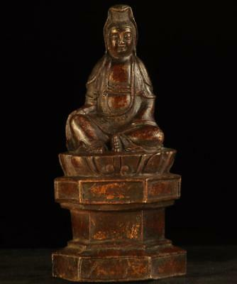 "BUDDHA: Antique Tibetan Kwan Yin,  Bronze Parcel Gilt,  1800's, 9 "" Tall"