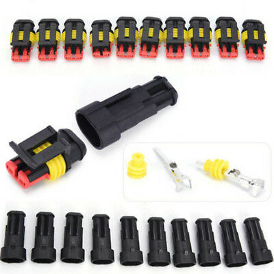5x 2Pin Set Car Waterproof Electrical Connector Plug With Wire AWG Marine Black