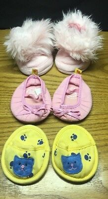 (CQ) Build A Bear Pink Bow Ballerina Slippers Fuzzy Boots & Yellow Slip On Shoes