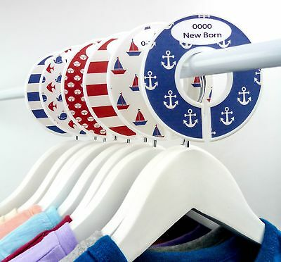 Nursery Baby Wardrobe Closet - Nautical Red, Blue & White Dividers - Set of 6
