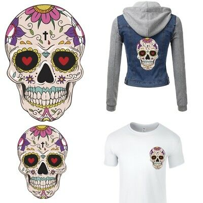 Cartoon Skull Patches T-shirt Press Heat Transfer Sticker DIY Iron On Appliques
