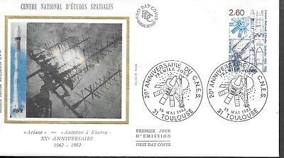 FR253    France 1977  CENTRE NATIONAL D'ETUDES SPATIALES  SILK FDC $4.00