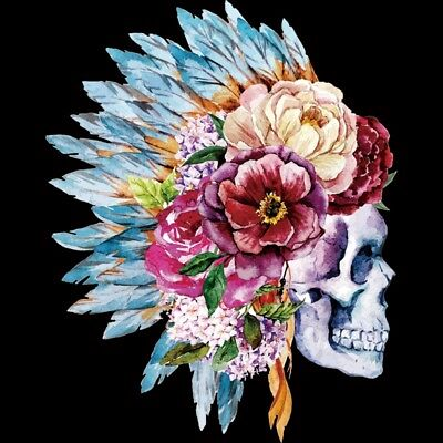 Heat Transfer Flower Skull Pattern Iron On Patches For DIY Craft Clothes Decor