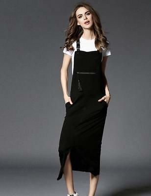 d00089b2d2 Womens Cotton Blend Black Overalls Suspender Dress Knee Length Slim Skirts  D319