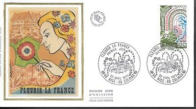 FR260   France 1978 FLEURIR LA FRANCE   SILK FDC $4.00