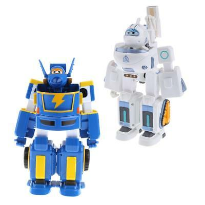 2x SUPER WINGS SAETBYEOL Astra Jerome Airplane Robot Car Figure Plane Toy