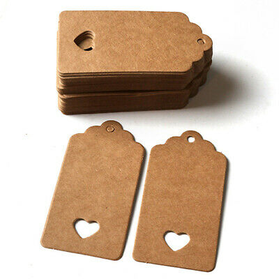 100x Blank Kraft Paper Tags Wedding Party Favors Label Price Tags Gift Cards