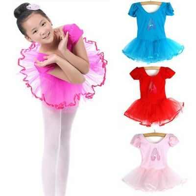 US Kids Girl Ballet Tutu Dance Dress Leotard Dancewear Gymnastics Skirts 3-7Y